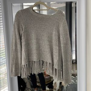 BB Dakota open back fringe sweater